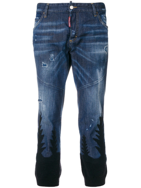 Dsquared2 jeans cropped jeans girl cool cropped women cotton blue wool