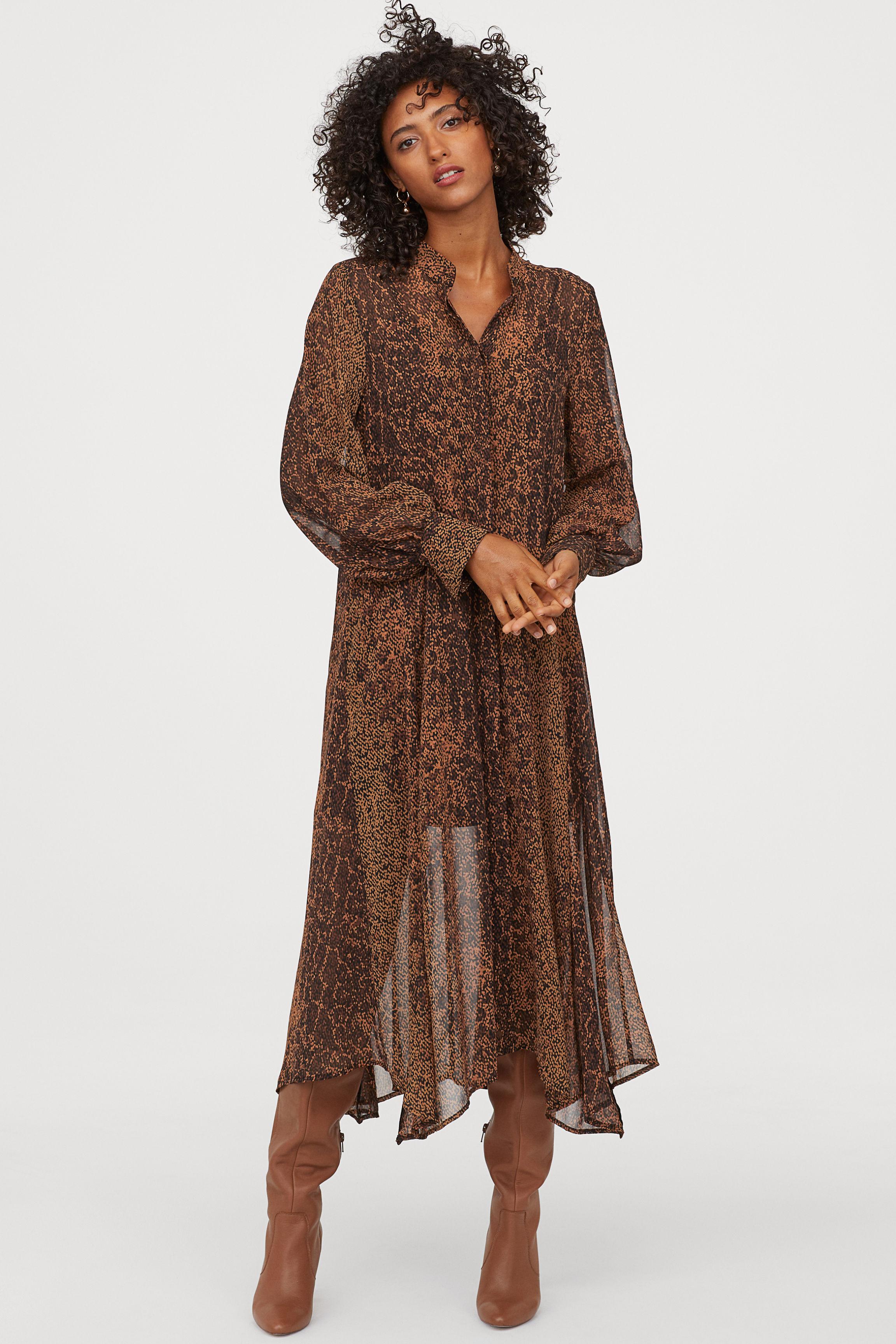 Chiffon dress - Brown/Patterned - Ladies   H&M GB