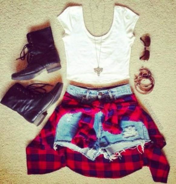 scarf plaid shirt denim shorts black boots white crop tops sunglasses bracelets