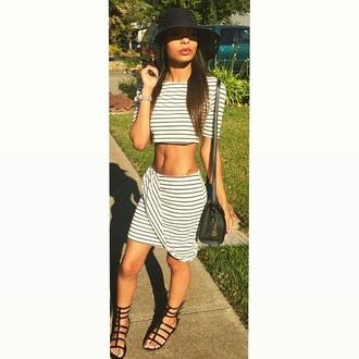 dress black white striped dress striped skirt striped top