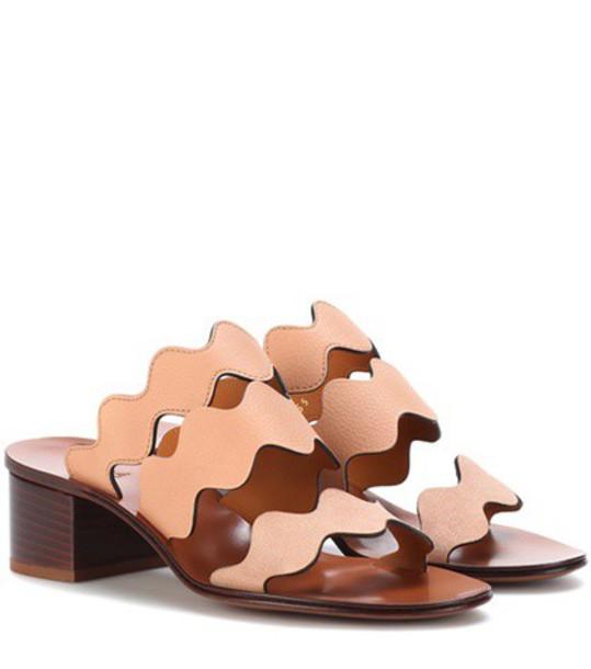 Chloé Lauren leather sandals in pink