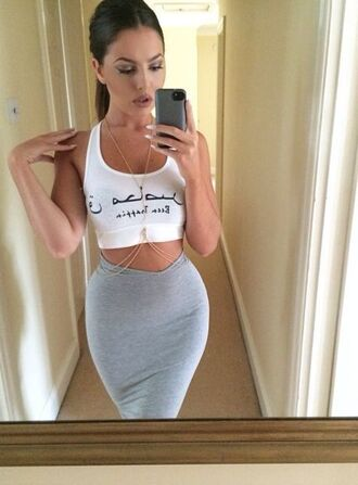 shirt arabic half shirt grey skirt body chain skirt jewels