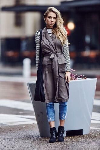 jacket trench coat grey vest long coat long jacket sleeveless