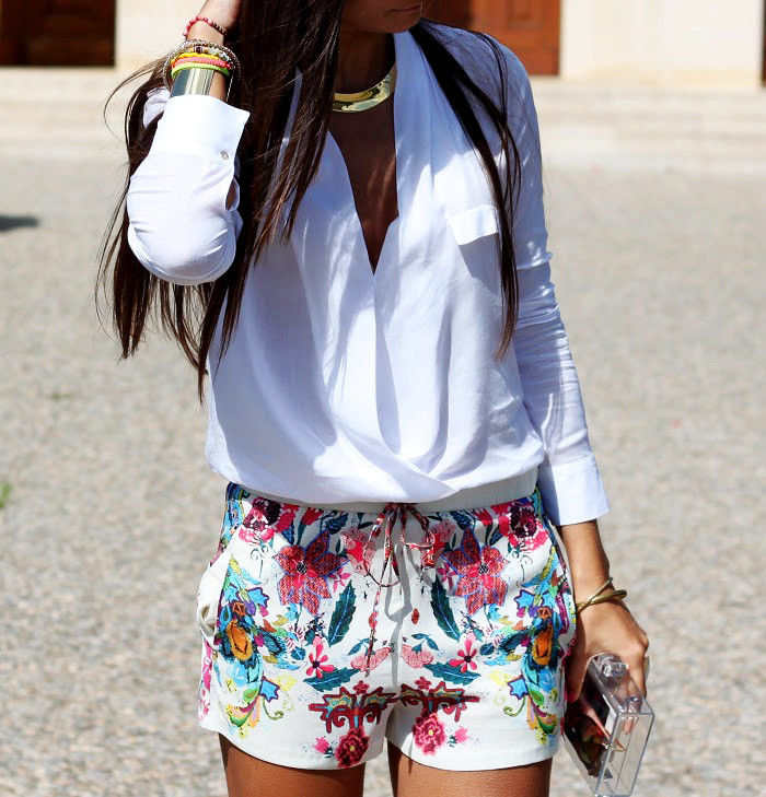 Size XS M Zara Floral Flower Flowing Printed Shorts Short Bermudas | eBay