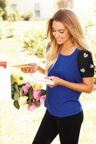 lauren conrad blue shirt black shirt