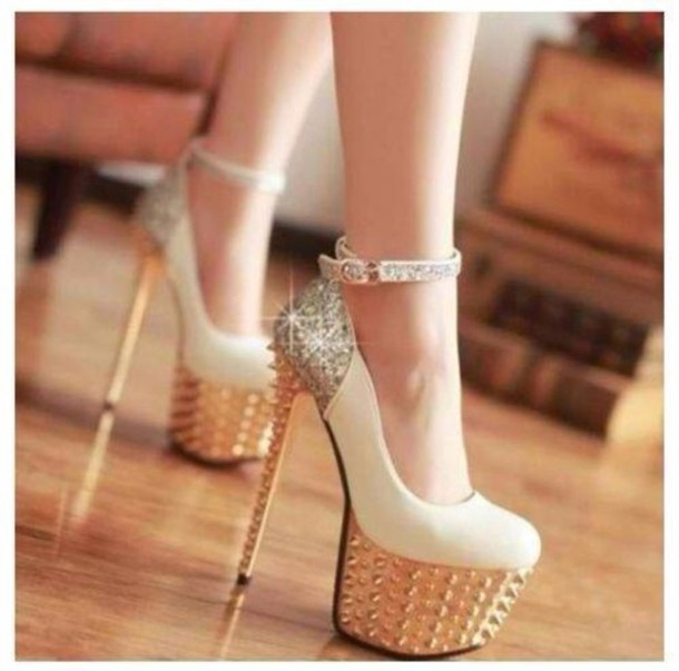 shoes pumps studded shoes gold heels prom high heels