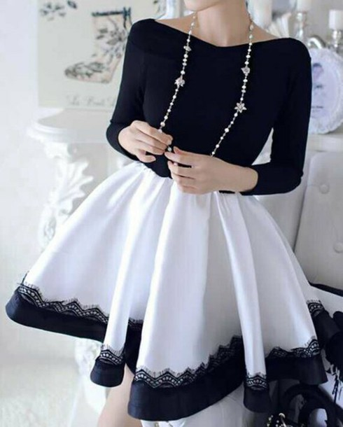 dress skirt black dress white dress lace dress long sleeves black and white