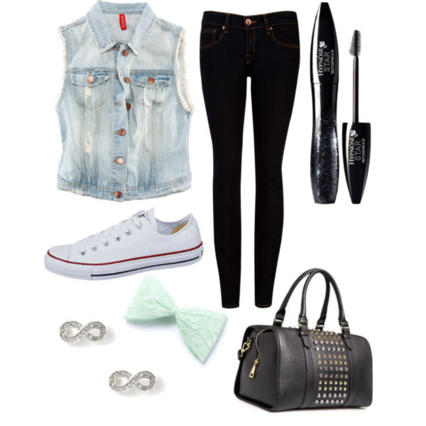 bag converse vest jeggings mascara blouse pants bows earrings shoes