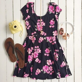 dress floral dress mini dress prom dress mini prom dress date outfit headphones gold pink purple pink dress purple dress necklace jewels shoes camera brown white tumblr flowers polaroid camera