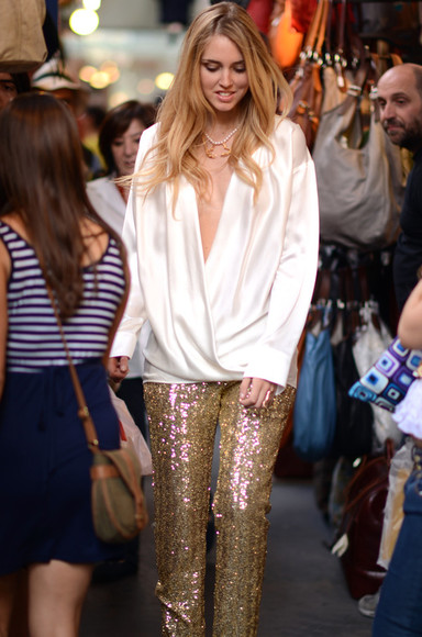 yellow pants skinny gold sequin blonde salad