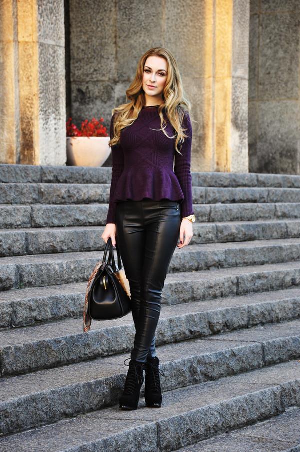 karina in fashionland sweater pants shoes bag scarf jewels
