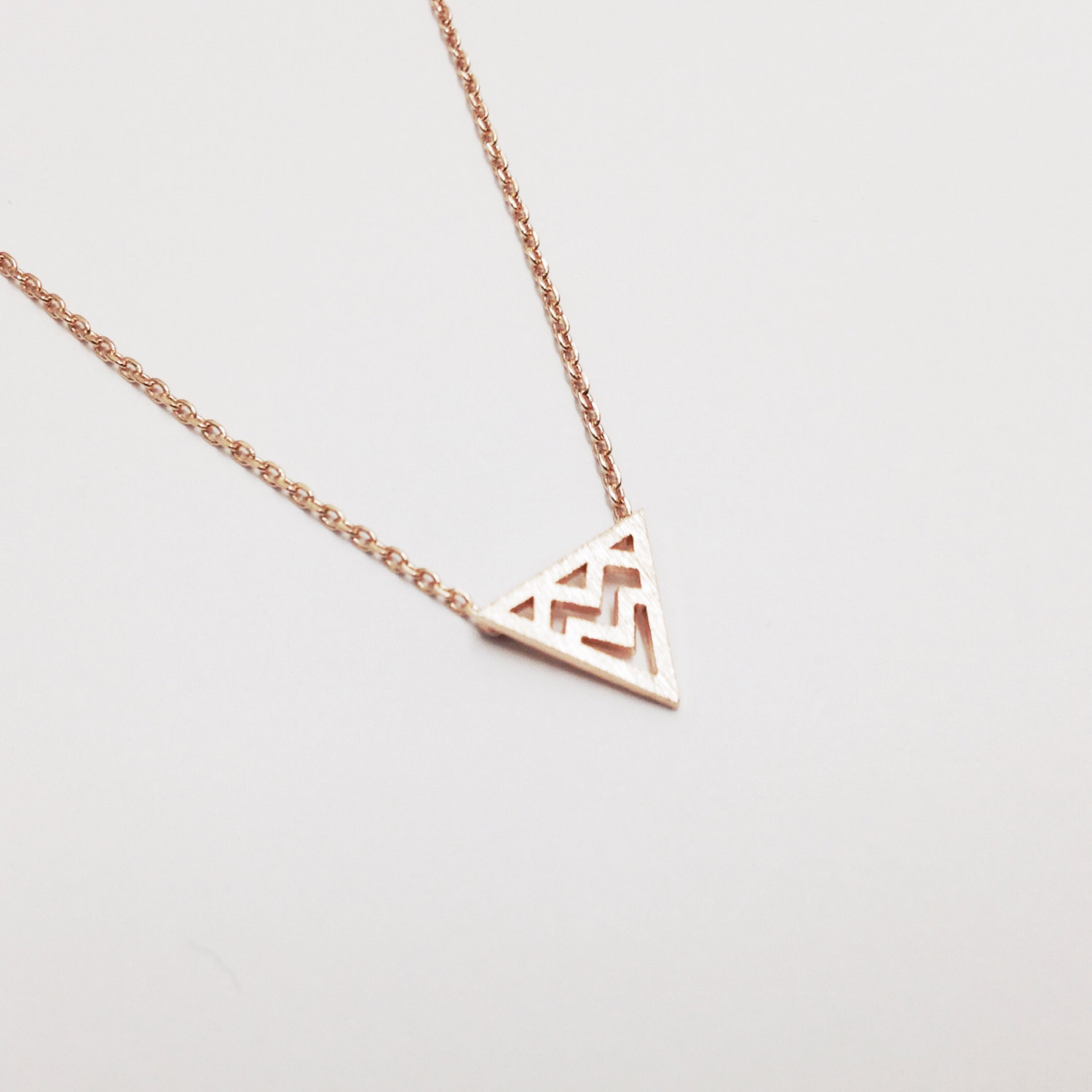 Geometric Necklace - Rose Gold Necklace, Rose Gold Triangle , Delicate Necklace, Minimalist Necklace, Dainty Necklace, Tribal Necklace