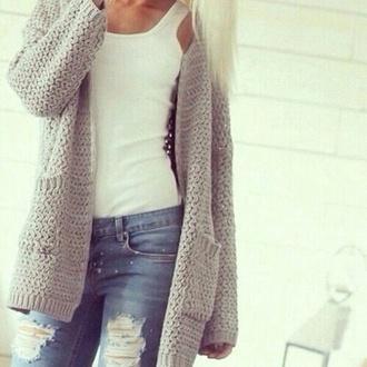 jeans tank top grey sweater white tank top