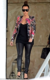 jacket,kim kardashian,floral blazer,all black everything,blazer,pants,sunglasses