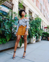 skirt,tumblr,mini skirt,mustard,button up,button up skirt,shirt,blue shirt,off the shoulder,off the shoulder top,sandals,sandal heels,high heel sandals