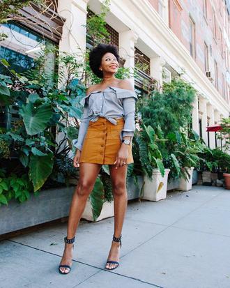 skirt tumblr mini skirt mustard button up button up skirt shirt blue shirt off the shoulder off the shoulder top sandals sandal heels high heel sandals