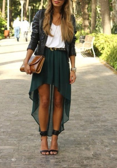 grunge girly grunge girly skirt leather jacket jacket high-low dresses green skirt