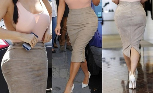 Skirt: suede, fitted skirt, pencil skirt, bodycon skirt, nude ...