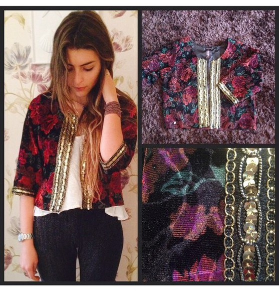 chain style jacket boho boho chic flowers sequins fashion