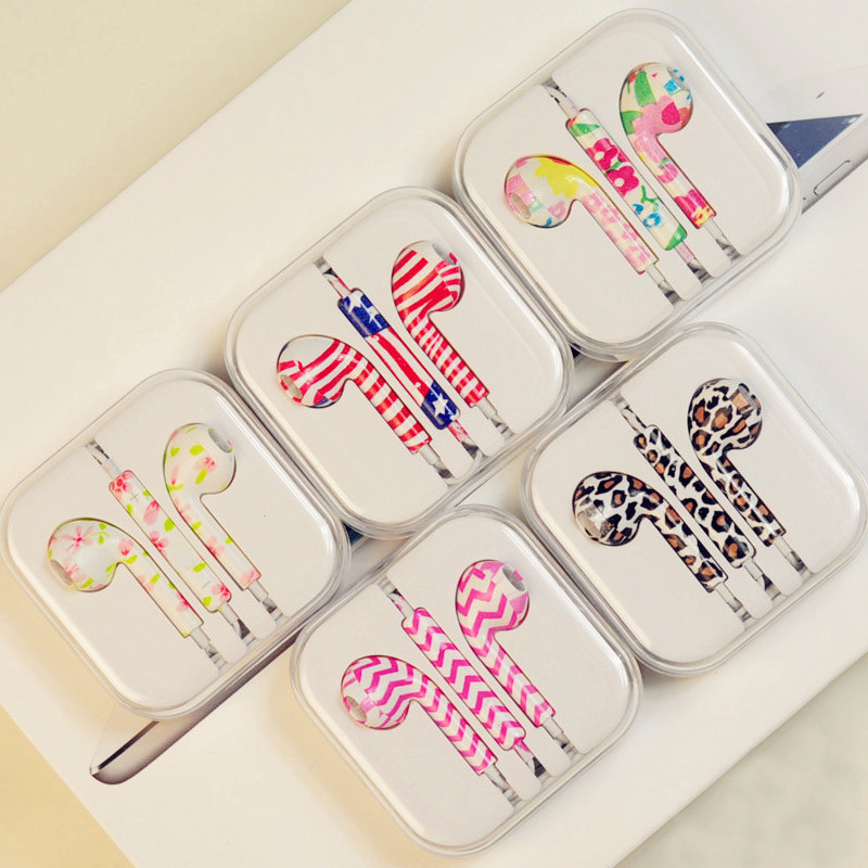 Fancy Patterned Ear Pods For Iphone/Ipad/Ipod/Itouch - Earphones - 65emall.com