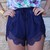 Blue Shorts - Navy Lace Trim Elastic Waist | UsTrendy