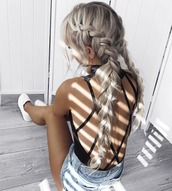 hair accessory,long hair,braid,black bodysuit,beach,backless,backless bodysuit,hairstyles,swimwear,summer outfits,criss cross back,top,open back bodysuit,open back,backless top,sexy,open back top,bodysuit,hair,platinum hair