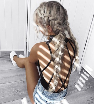 hair accessory long hair braid black bodysuit beach backless backless bodysuit hairstyles swimwear summer outfits criss cross back top open back bodysuit open back backless top sexy open back top bodysuit hair platinum hair