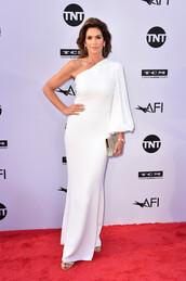dress,one shoulder,one shoulder dress,white,white dress,maxi dress,cindy crawford,red carpet dress