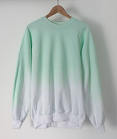 sweater,green ombre sweater,green,white,hipster,indie,cute,ombre,sweatshirt,pullover,dip dyed,beach,comfy,sweats,twotone,unisex,light blue,free vibrationz,able usa,pastel,pastel goth,aqua,cotton,jumper,crewneck,mint,gradient,hoodie