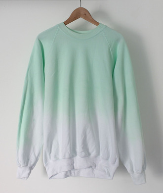 aqua ombre white cotton jumper sweater crewneck