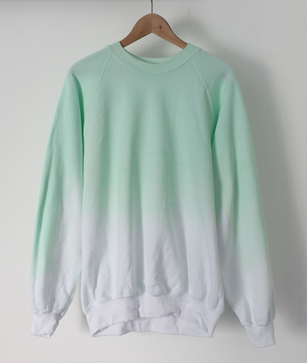 sweater green ombre sweater green white hipster indie cute ombre sweatshirt pullover dip dyed beach comfy sweats twotone unisex light blue free vibrationz able usa pastel pastel goth aqua cotton jumper crewneck sweater mint gradient hoodie
