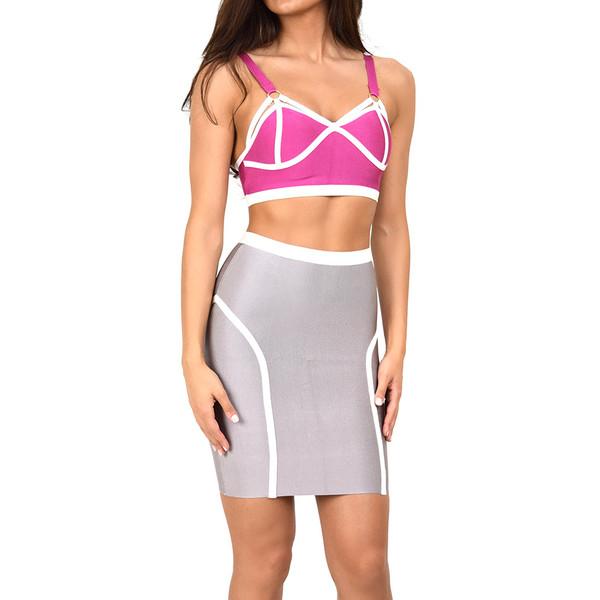 Pink & grey two piece bandage dress