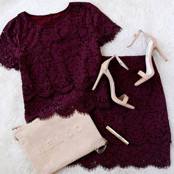f367ebacded burgundy burgundy top burgundy skirt lace skirt lace top sandals sandal  heels nude heels clutch sexy