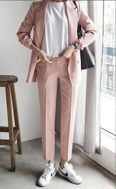 online store beceb be865 pants pink nike blazer jacket white tumblr tumblr outfit