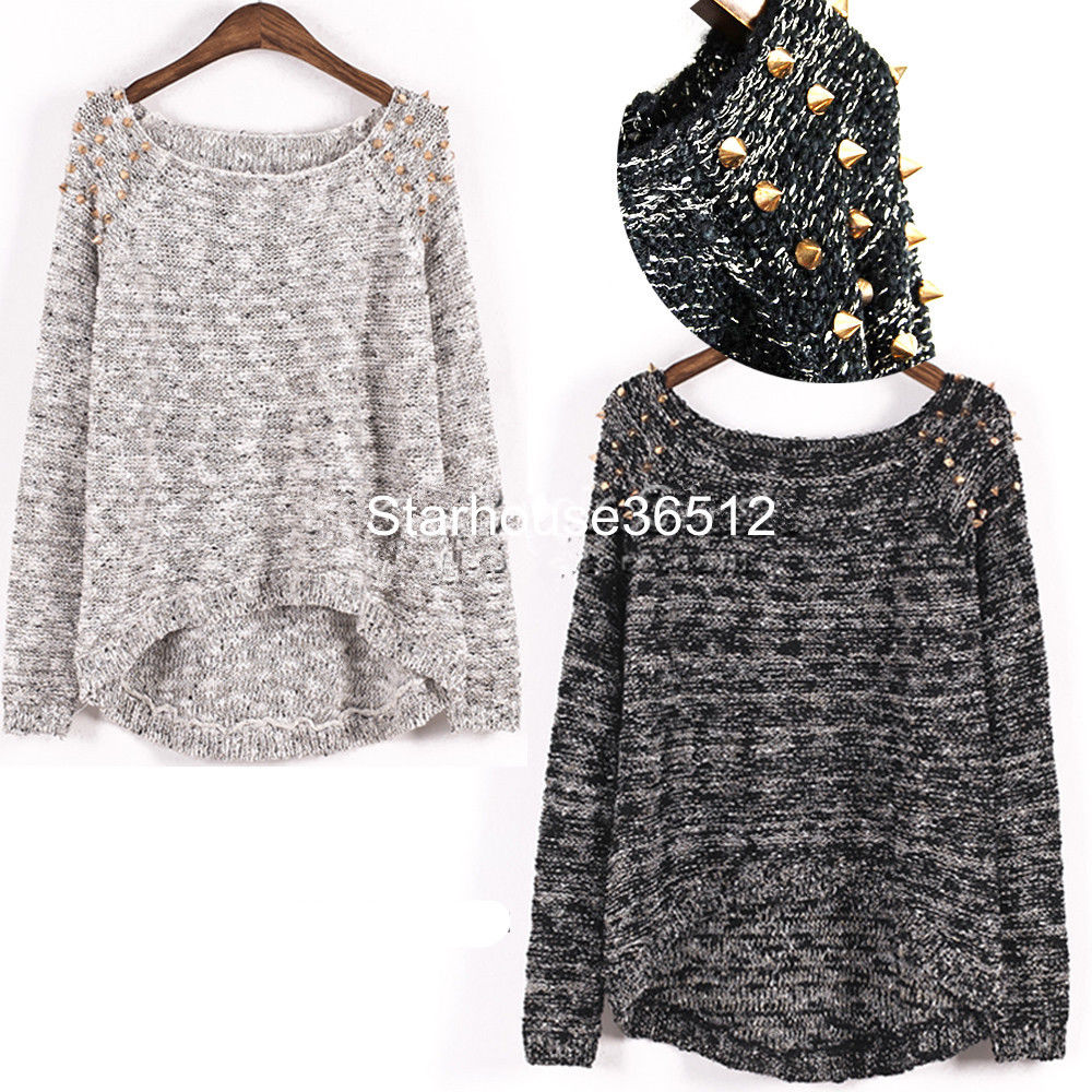 Asymmetric Jumper Sweater Top Oversized Embellished Spiked Studs Wide Scoop Neck | eBay