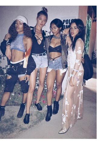dress see through dress see through coachella festival camila cabello fifth harmony music festival instagram shoes belt