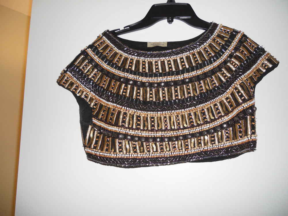 ZARA RARE BEADED CROPPED TOP EXQUISITE SIZE M | eBay