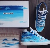 shoes,blue,white,sky blue,sky,clouds,clouds.,white shoes,blue sneakers,blue shoes,white sneakers,bright blue