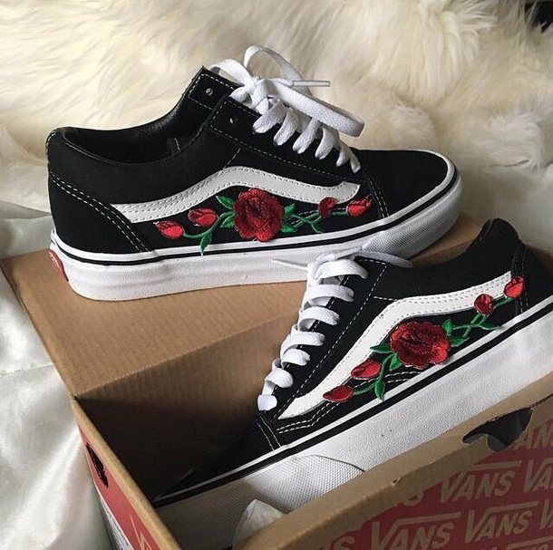 Shoes vans black rose flowers embroidered wheretoget