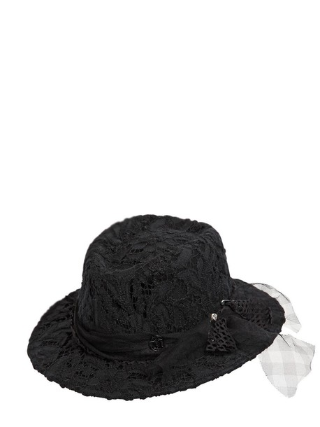 MAISON MICHEL Andre Lace & Rabbit Fur Felt Hat in black