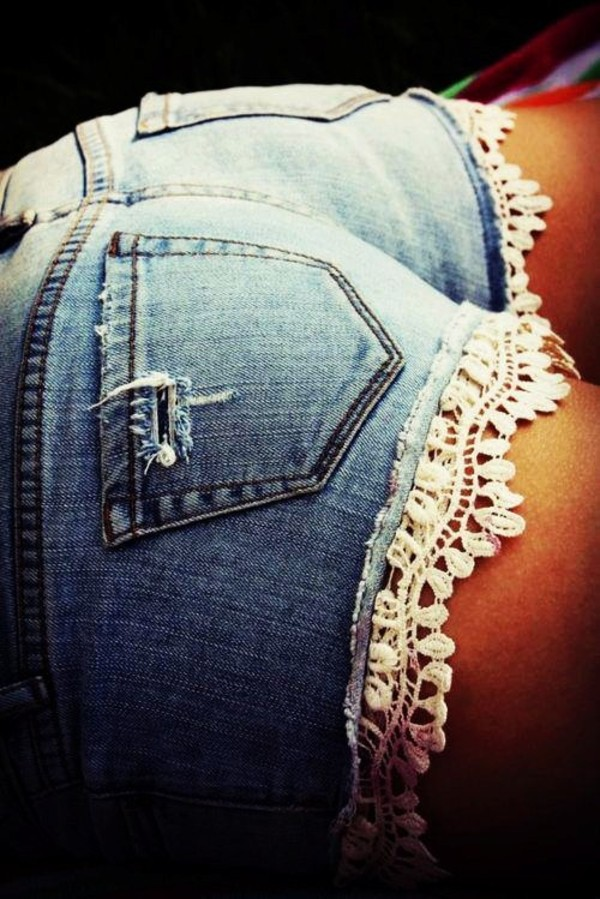 shorts denim lace denim lace shorts crochet bottom low rise ripped clothes outift lace shorts booty shorts denim shorts lace trim white lace shorts\ denim shorts summer shorts