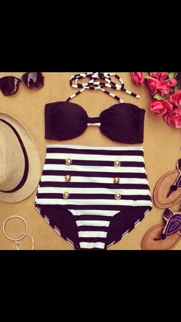 swimwear black bikini cute bikini black swimwear white swimwear b&w black white