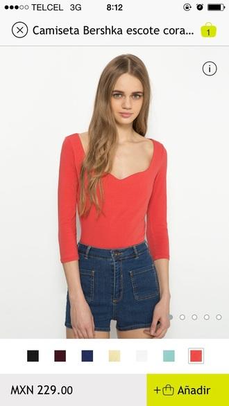 blouse orange blouse bershka méxico