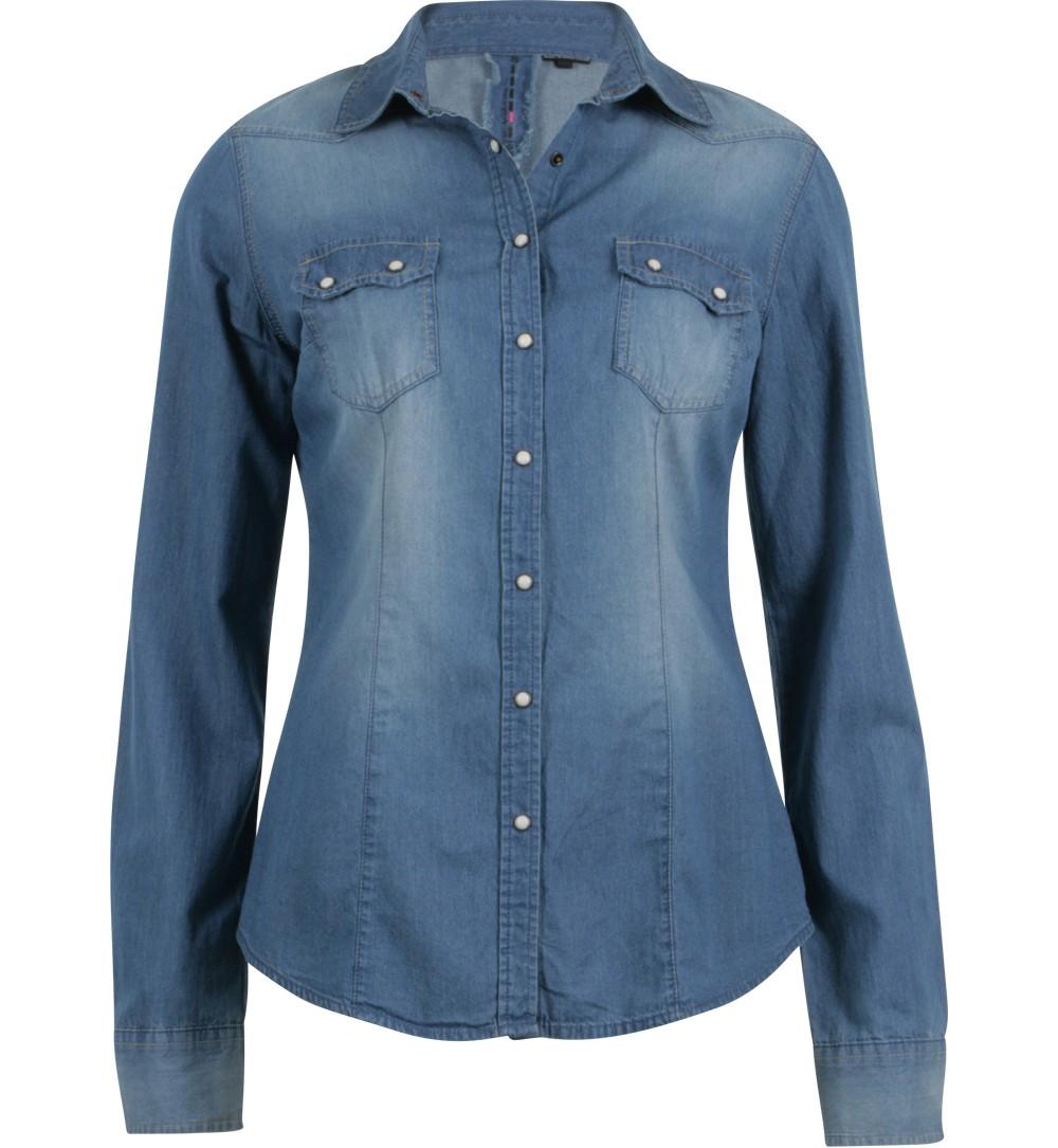 Chemise en jean bleu ciel - Chemises et tuniques Jennyfer