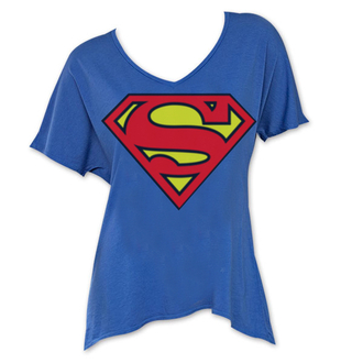 shirt blue superman superhero dc comics shirts flowy flowing wide necked wide neck