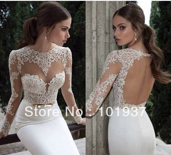 Vestidos de noiva 2014 new design sexy long sleeves white high collar sheer lace sheath open back wedding dresses bridal gowns