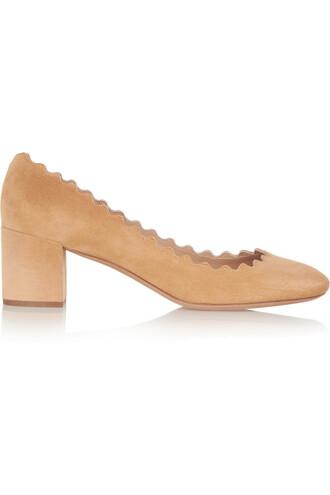 suede pumps scalloped pumps suede beige shoes