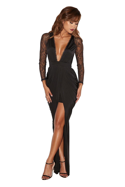 Max Dresses : 'Adiran' Black Lace and Silky Jersey Maxi Dress