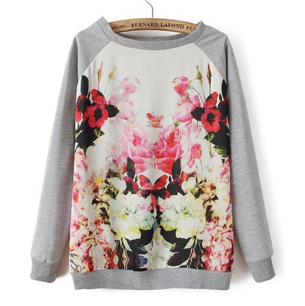 top floral top floral sweater floral sweatshirt