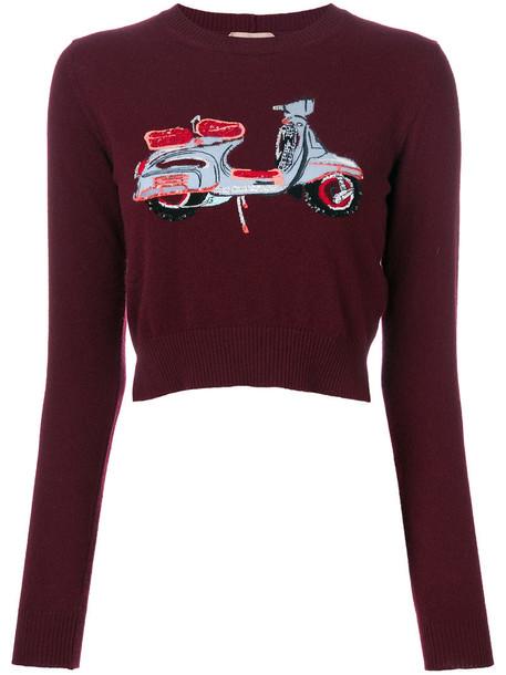 No21 sweater women print wool red